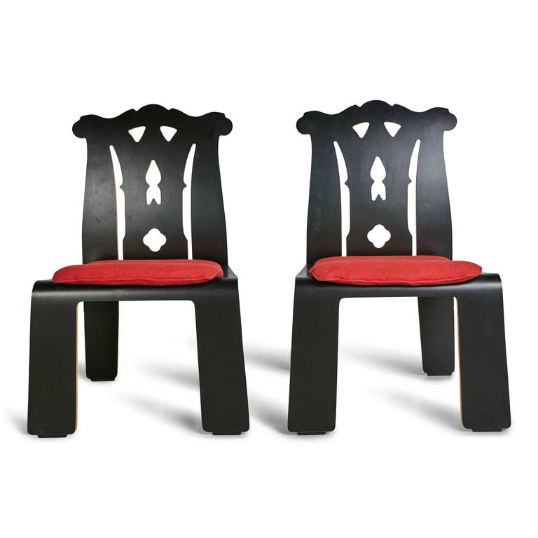 Post-Modern Robert Venturi Chippendale Side Chairs for Knoll International, 1986 For Sale