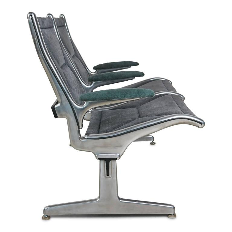 American Tandem Sling by Eames for Herman Miller, Restored in Edelman Leather, circa 1962 For Sale