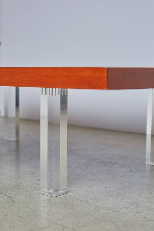 American Milo Baughman for Directional Walnut and Lucite Coffee Table, 1960s, Restored For Sale