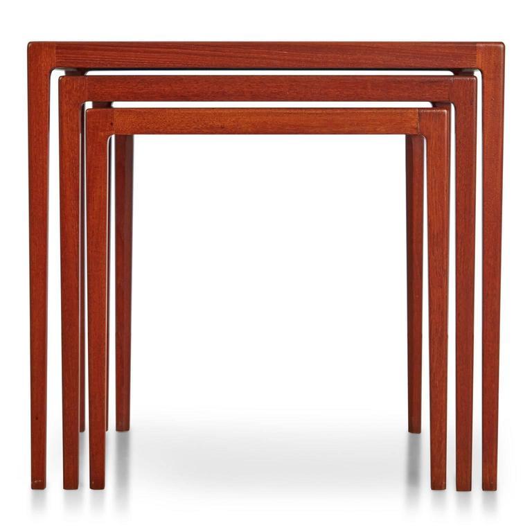 Scandinavian Modern Refinished Eske Kristensen Teak Nesting Tables by Ludwig Pontoppidan, circa 1960 For Sale