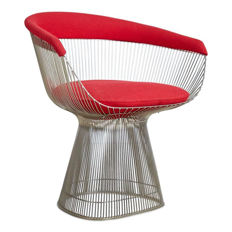 Mid-Century Modern Warren Platner Dining Armchair for Knoll International, 1981 Production Year For Sale