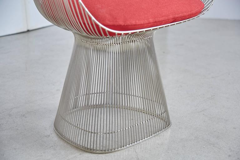 Steel Warren Platner Dining Armchair for Knoll International, 1981 Production Year For Sale