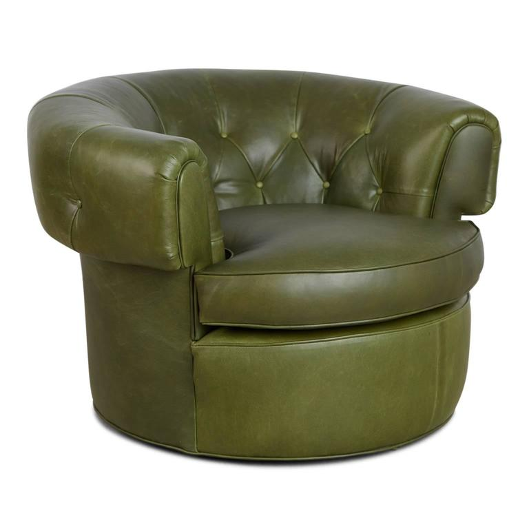 Mid Century Modern Pair Of 1950s Tufted Barrel Chairs In Forest Green  Leather, Restored