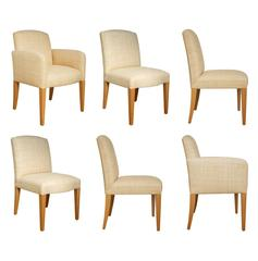 Donghia Woven Grasscloth, Custom Plaza Chairs, Set of Six