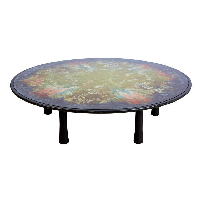 Scandinavian Modern Scandinavian Verre Églomisé Round Floral Painted Coffee Table, circa 1940 For Sale