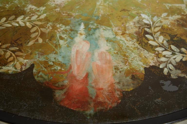 Scandinavian Verre Églomisé Round Floral Painted Coffee Table, circa 1940 For Sale 3
