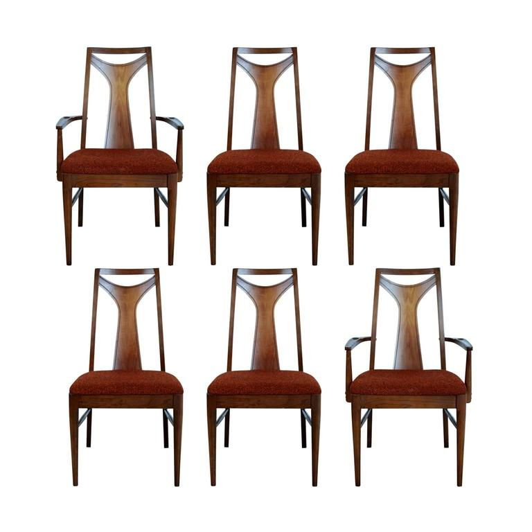 Broyhill Saga Walnut Dining Chairs, Set Of Six, Circa 1960 For Sale