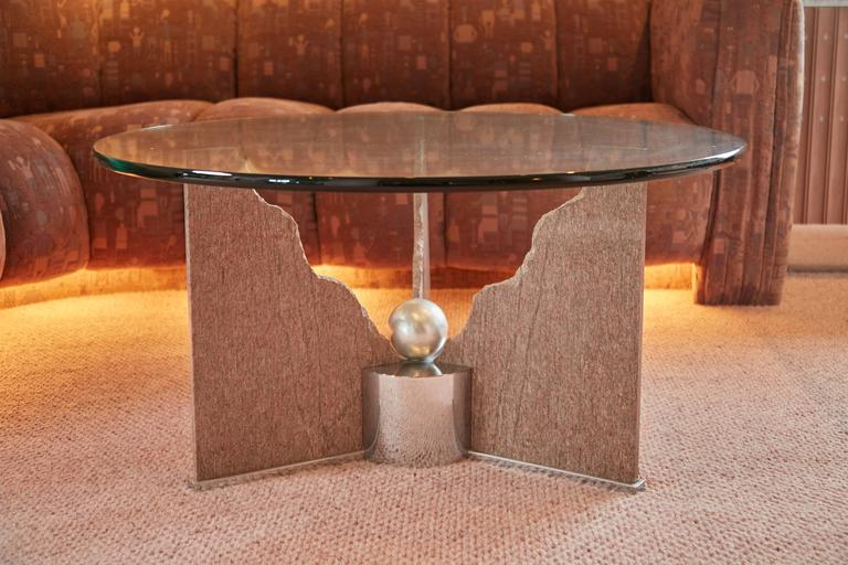 Invest in a piece of design history with this Memphis style coffee table by Steve Chase. Recently procured from an extraordinary coastal clifftop home in Laguna Beach which was custom designed in its entirety by prolific Southern California based