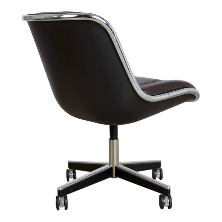 Charles Pollock for Knoll Dark Brown Leather Executive Desk Chair, circa 1980 4