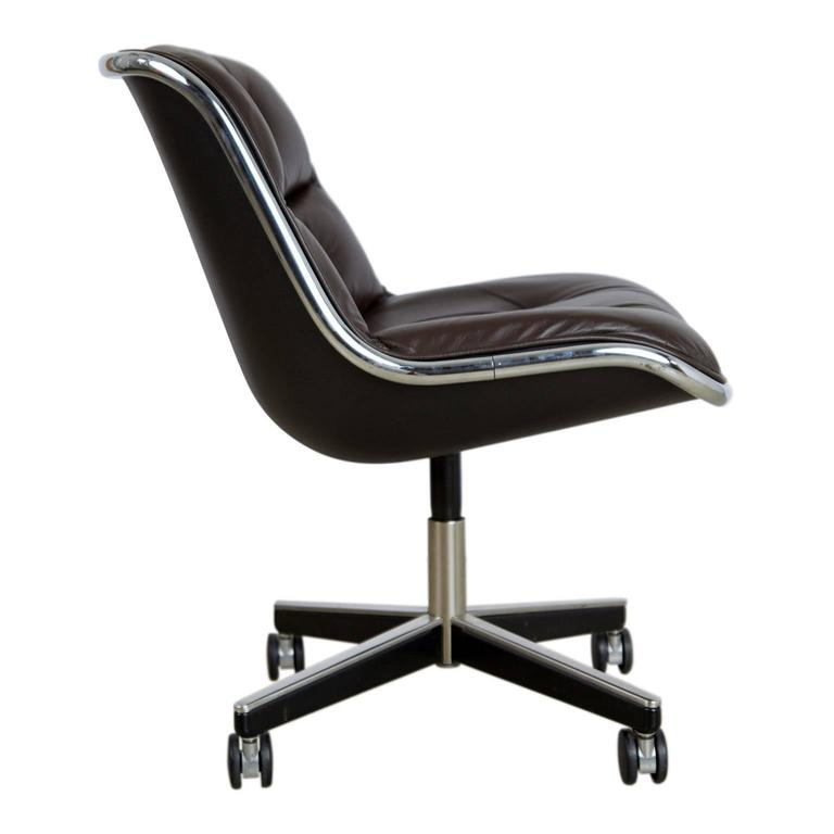 Charles Pollock for Knoll Dark Brown Leather Executive Desk Chair, circa 1980 1