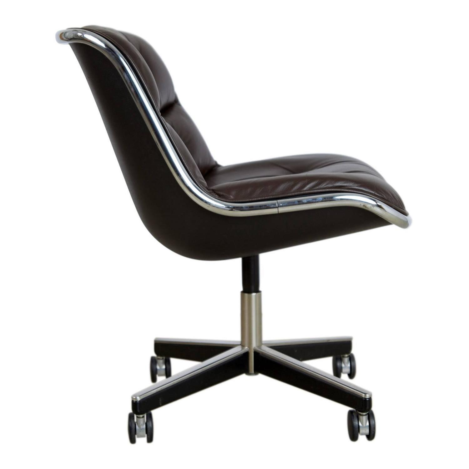 Charles Pollock for Knoll Dark Brown Leather Executive Desk Chair