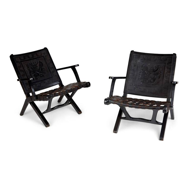 Pair Of Two Exquisitely Crafted Black Leather Peruvian Folding Chairs. Each  Chair Features A Tooled
