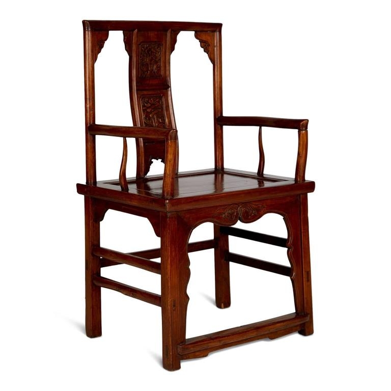 Chinese Export Pair of Chinese Carved Throne Armchairs For Sale