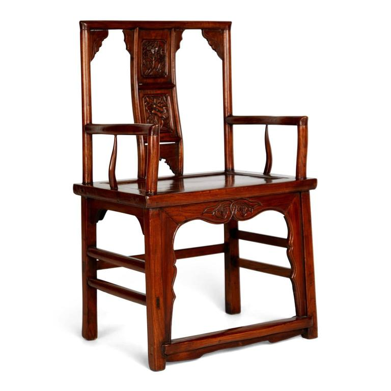 Pair of Chinese Carved Throne Armchairs In Excellent Condition For Sale In Los Angeles, CA