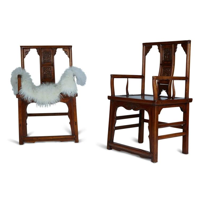 Pair of Chinese Carved Throne Armchairs For Sale 2