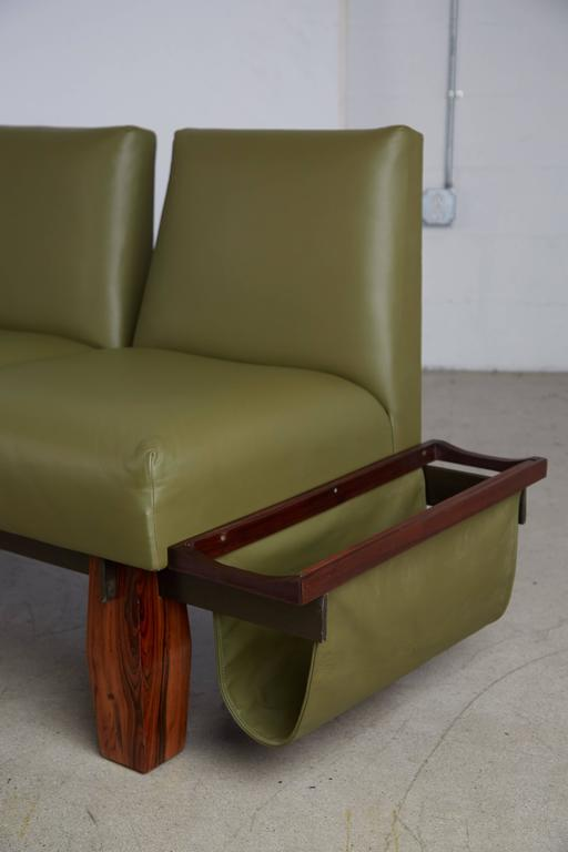 Jorge Zalszupin for L'atelier Brazilian Rosewood and Leather Sofa w Side Table For Sale 2