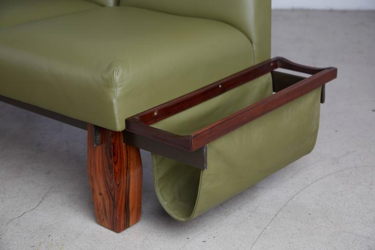 Jorge Zalszupin for L'atelier Brazilian Rosewood and Leather Sofa w Side Table For Sale 3