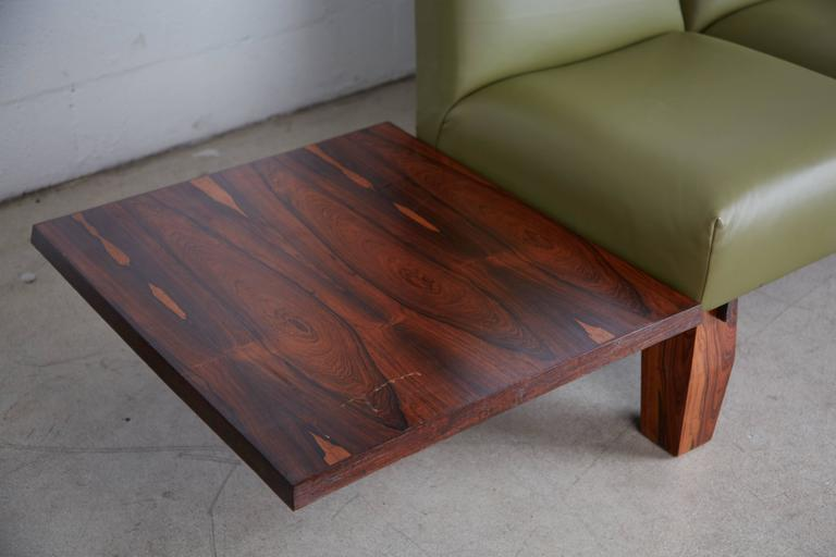 Jorge Zalszupin for L'atelier Brazilian Rosewood and Leather Sofa w Side Table In Excellent Condition For Sale In Los Angeles, CA