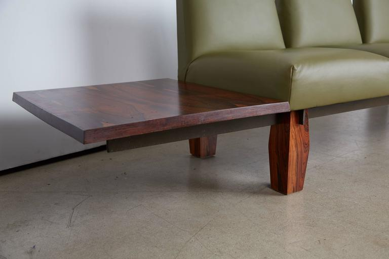 Late 20th Century Jorge Zalszupin for L'atelier Brazilian Rosewood and Leather Sofa w Side Table For Sale