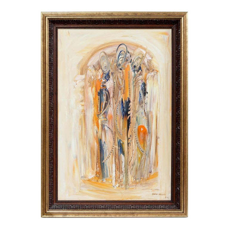Bata Protic Abstract Oil on Canvas Artwork, Signed and Dated 1984