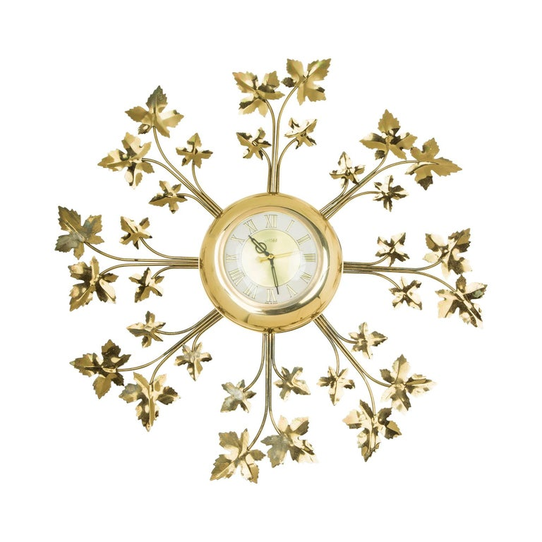 United Brass Ivy Leaf Detail Sunburst Clock, circa 1950