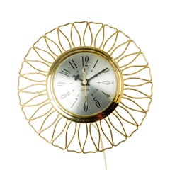 Sessions Brass Sunburst Clock, circa 1950