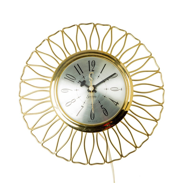Sessions Brass Sunburst Clock, circa 1950 For Sale