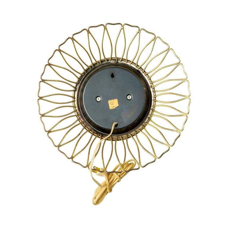 Mid-Century Modern Sessions Brass Sunburst Clock, circa 1950 For Sale