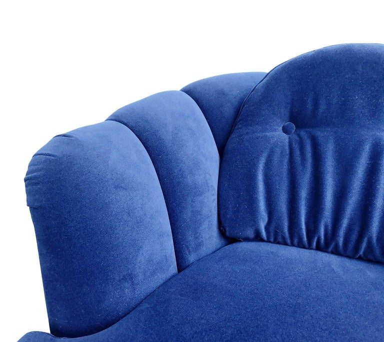 Restored Velvet Swivel Lounge Chair by Milo Baughman for Thayer Coggin For Sale 1