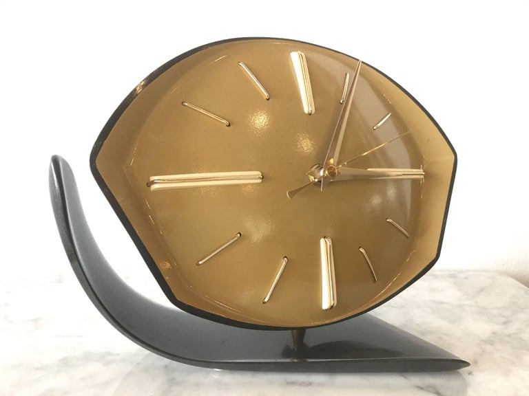 Geometric Modern Age Bakelite Table Clock Circa 1940 For