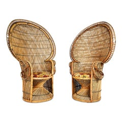 Iconic ''Emmanuelle'' Sylvia Kristel Wicker Rattan Peacock Chairs, circa 1970