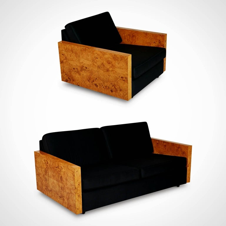 Mid-Century Modern Burl Wood Case Sofa and Lounge Chair by Milo Baughman, circa 1970 For Sale