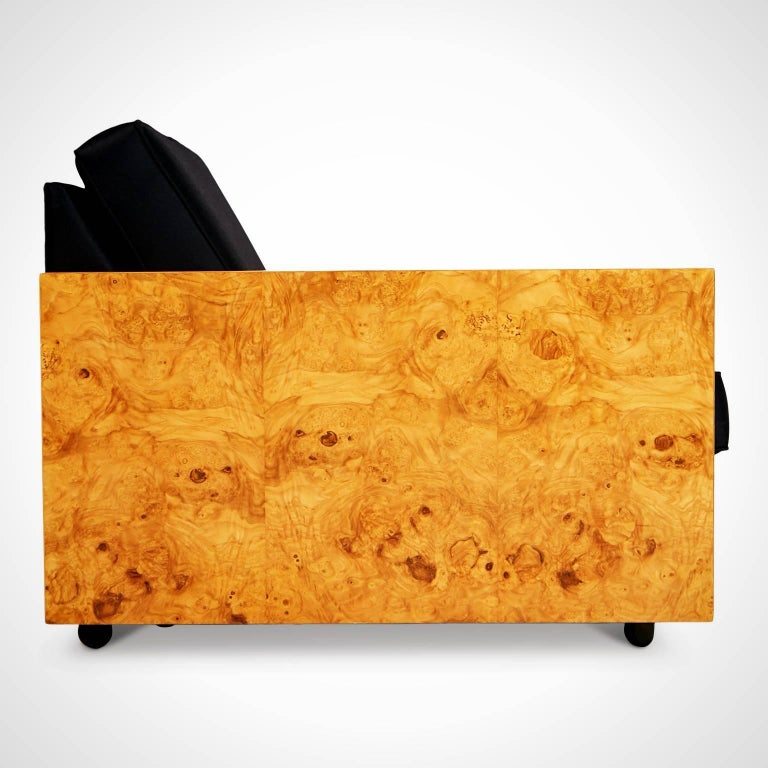 American Burl Wood Case Sofa and Lounge Chair by Milo Baughman, circa 1970 For Sale