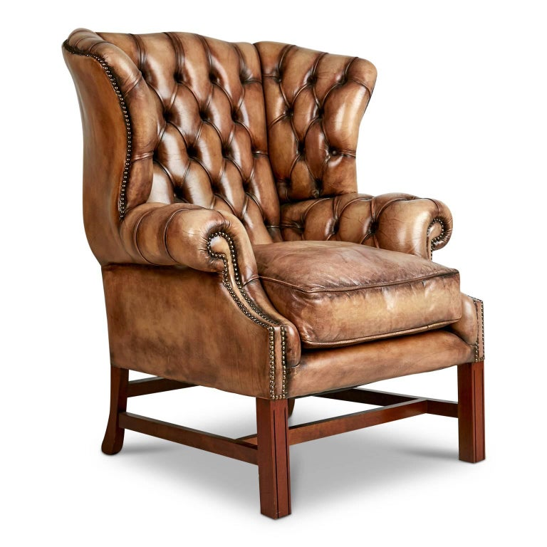 English tufted leather wingback library lounge armchair for sale at 1stdibs - Library lounge chairs ...