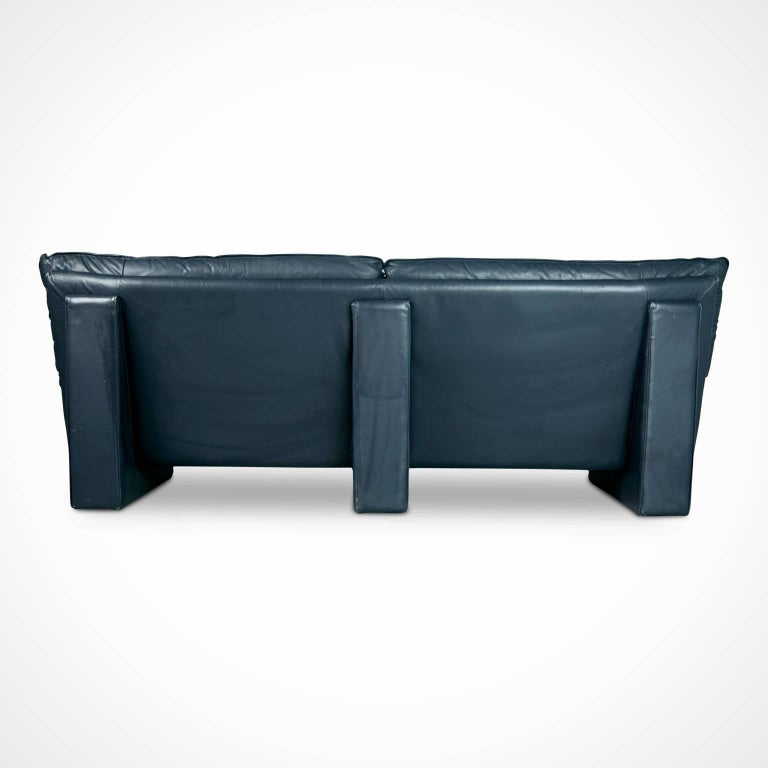 Navy Leather Contemporary Sofa Circa 1990 For Sale At 1stdibs