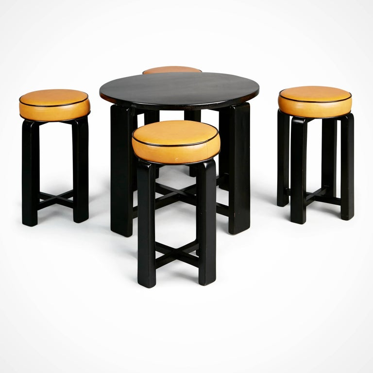 French Art Deco Cocktail Nesting Table And Four Leather Stools Circa 1940 For Sale At 1stdibs