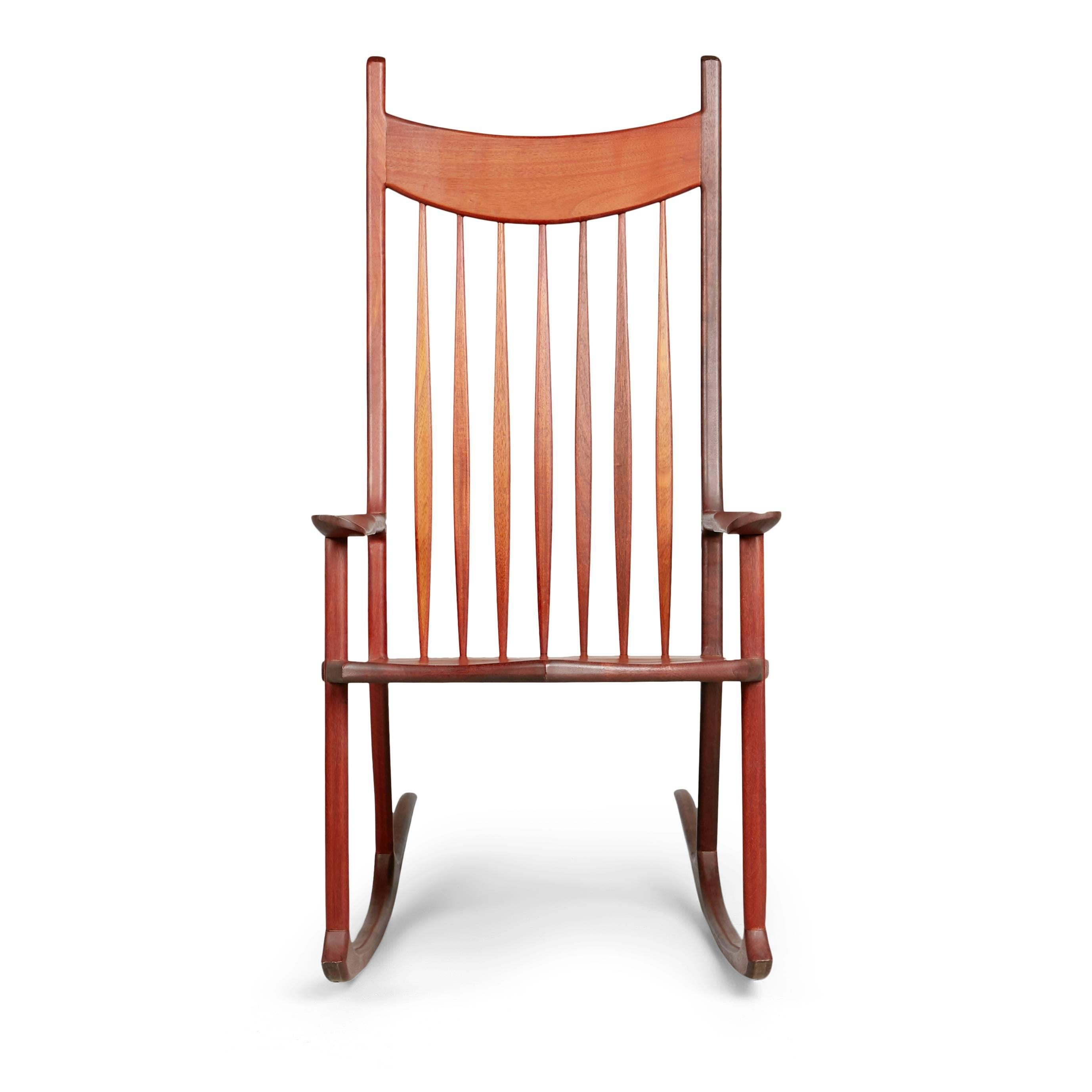 Oversized Sam Maloof Styled American Craftsman Rocking Chair. This  Generously Proportioned Armchair Consists Of A
