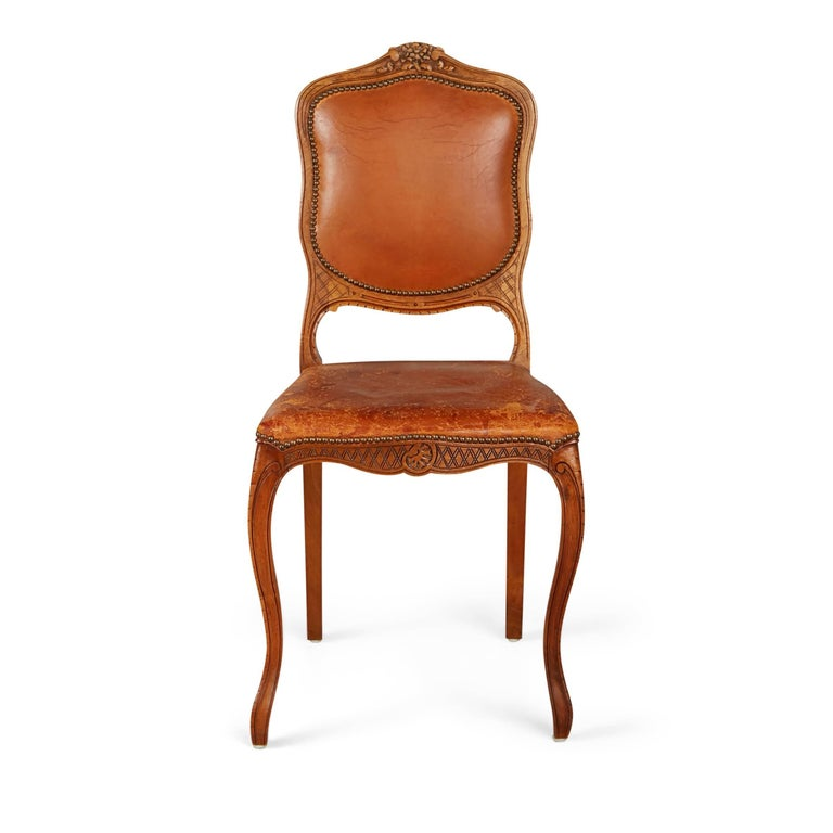 French Art Deco Distressed Leather Dining Side Chairs, Set ...