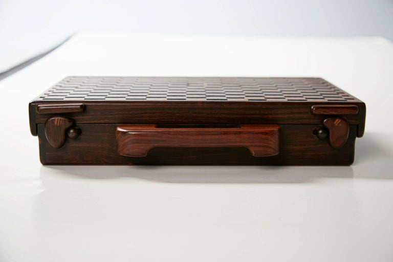 Mid-Century Modern Don Shoemaker Exotic Wood Inlaid Decorative Briefcase for Señal, circa 1970 For Sale