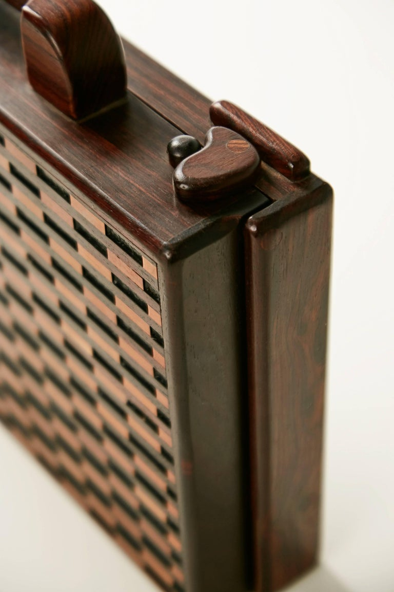Mid-20th Century Don Shoemaker Exotic Wood Inlaid Decorative Briefcase for Señal, circa 1970 For Sale