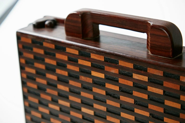 Jacaranda Don Shoemaker Exotic Wood Inlaid Decorative Briefcase for Señal, circa 1970 For Sale
