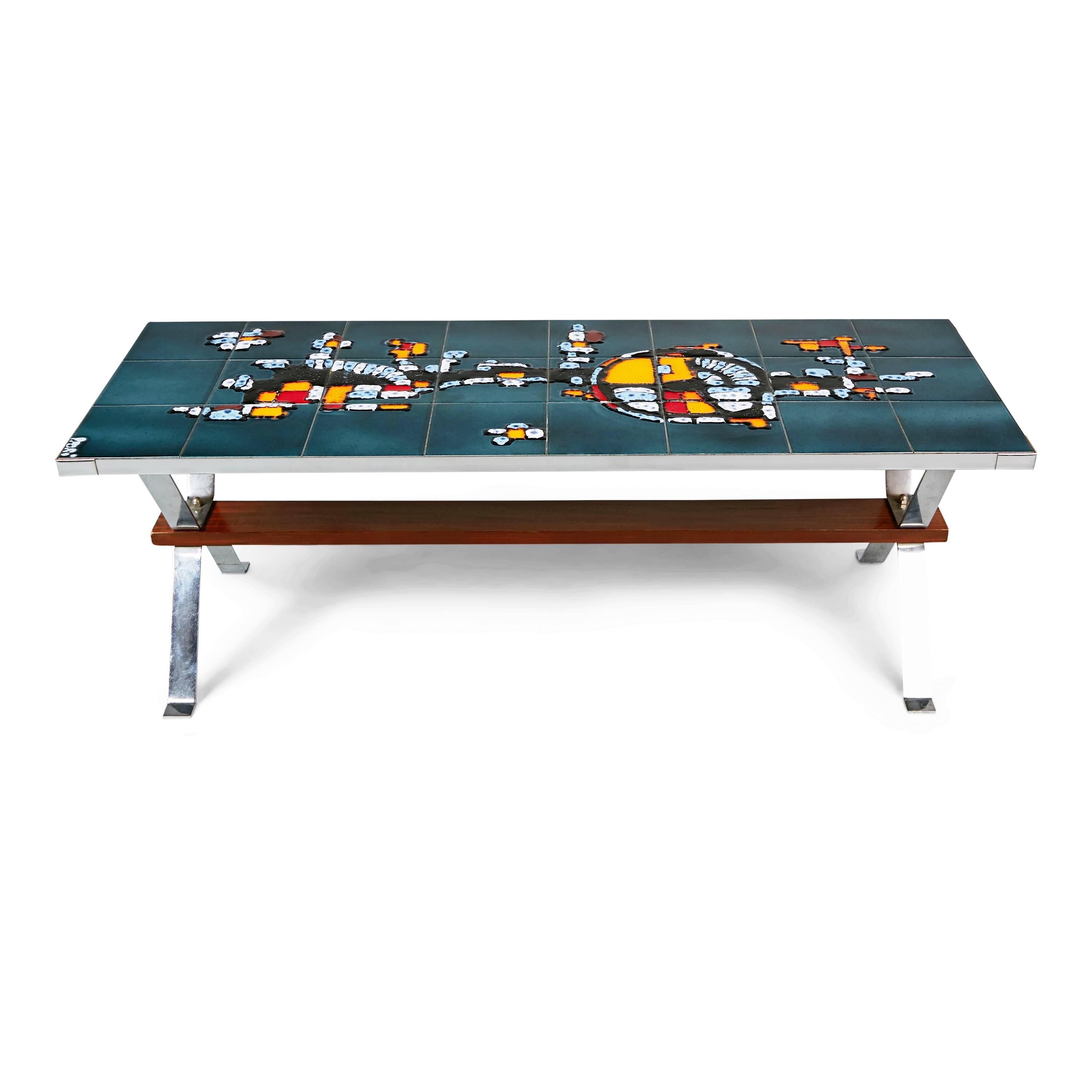 Beautifully Crafted Chrome And Ceramic Tile Coffee Table, Circa 1960,  Italy. This Slenderly