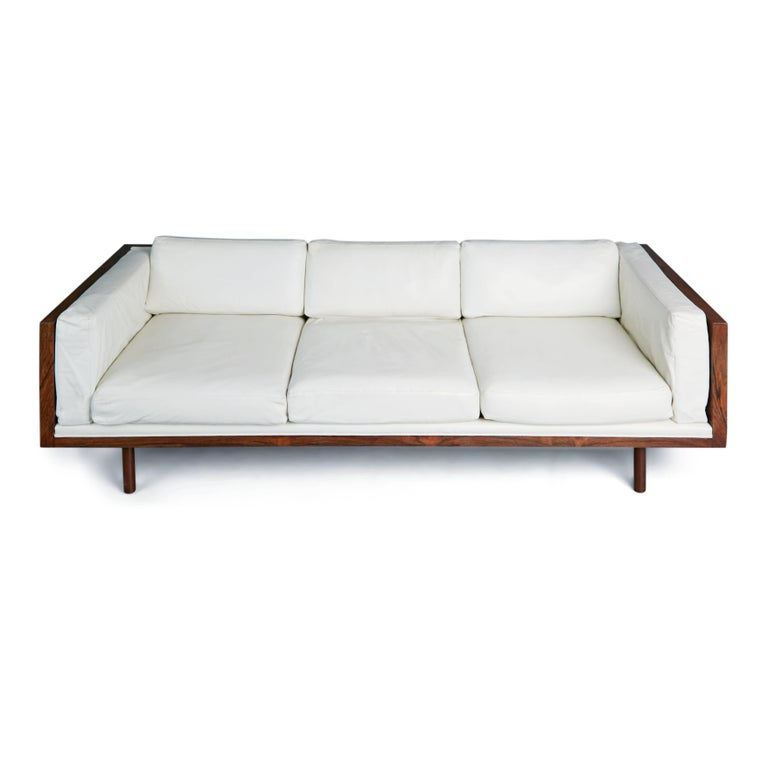 American Rosewood and Leather Case Sofa by Milo Baughman for Thayer Coggin, circa 1960 For Sale