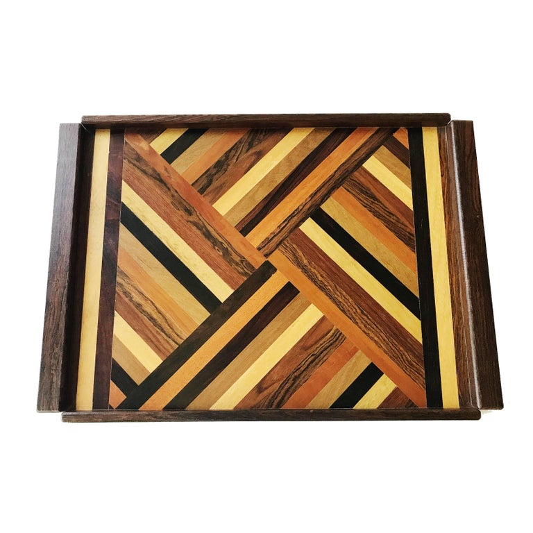 Don Shoemaker Exotic Wood Inlaid Tray for Señal, circa 1970, Large Size Version For Sale