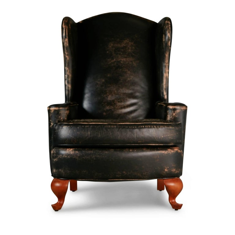 Modern Ralph Lauren Pair Of Intentionally Distressed Leather Wingback Chairs Ottoman For