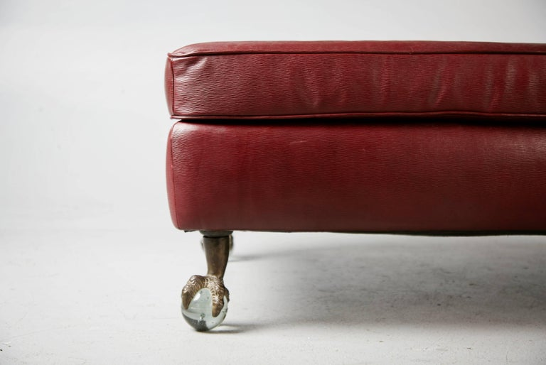 Edelman Cabernet Epi Leather Ottoman With Glass Ball And