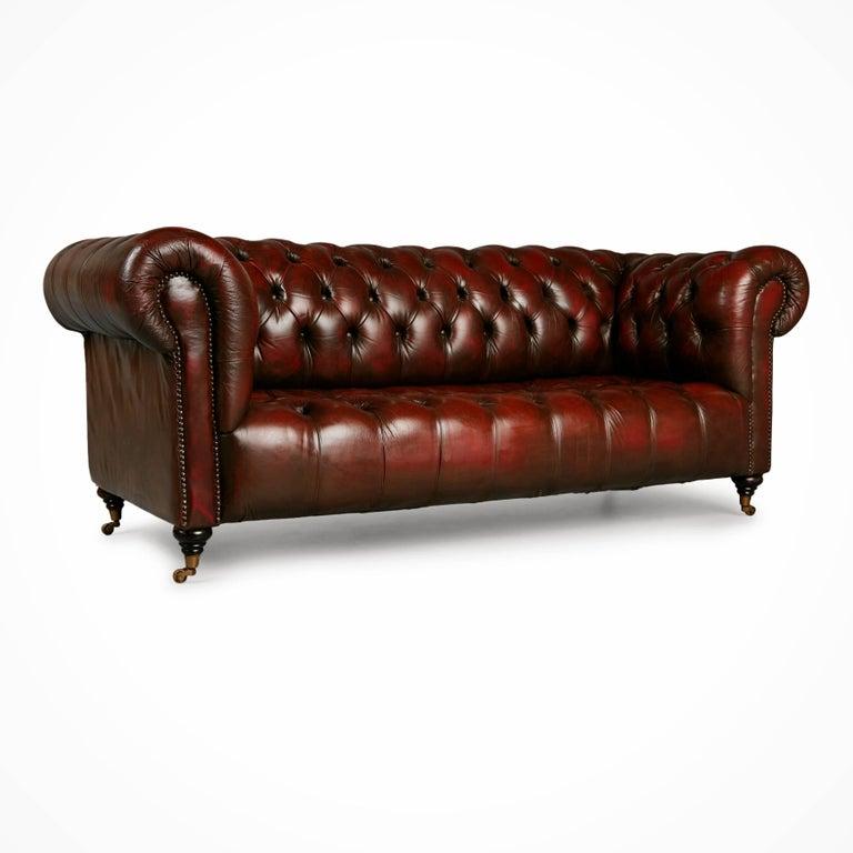 English Georgian Style Distressed Oxblood Leather