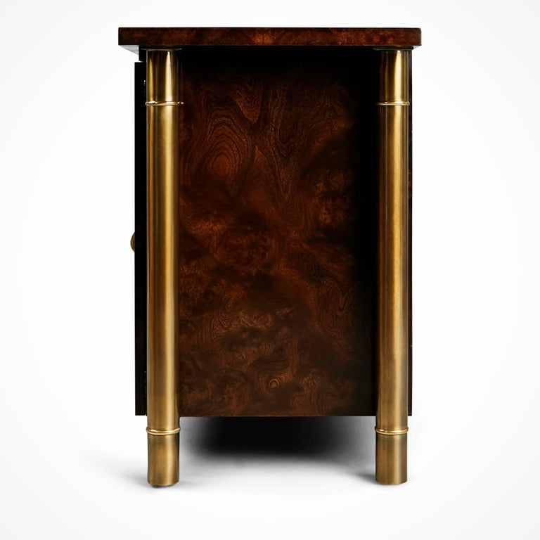 Mastercraft Burled Wood and Brass Credenza by William Doezema, circa 1960 For Sale 1