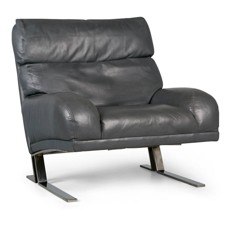 American Milo Baughman Grey Leather Lounge Chair and Ottoman for Directional, circa 1970 For Sale
