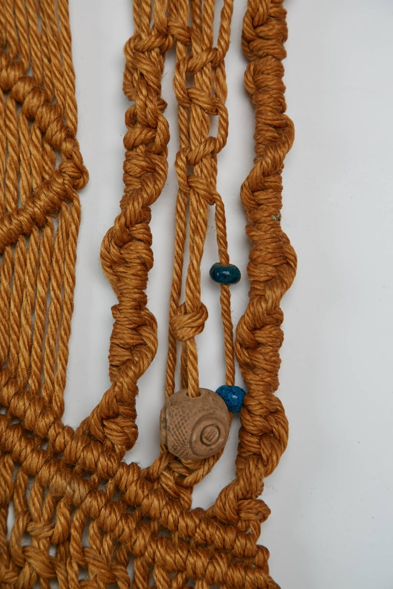 Macrame Wall Hanging With Clay And Azure Beads Circa 1970 For Sale